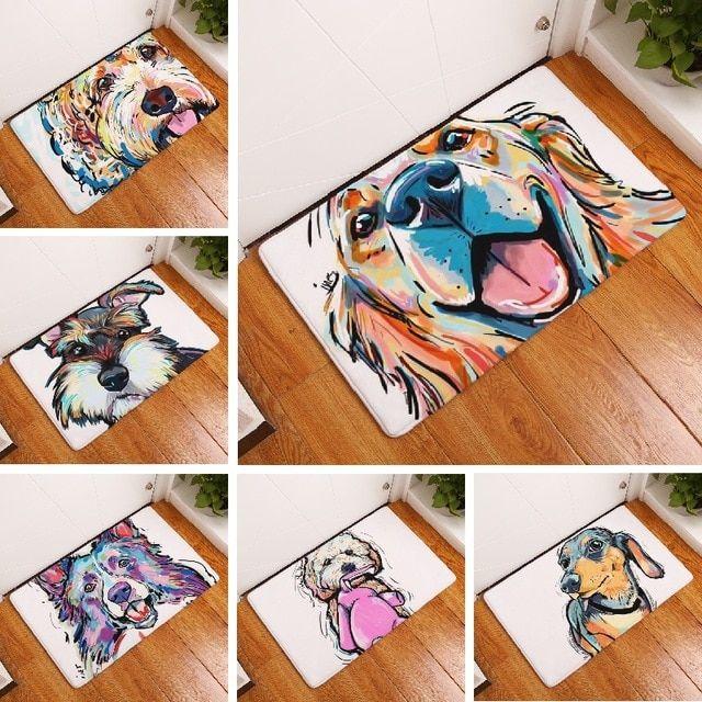 Bath Mat Cartoon Dog Printed Carpet Suede Absorbent Shower