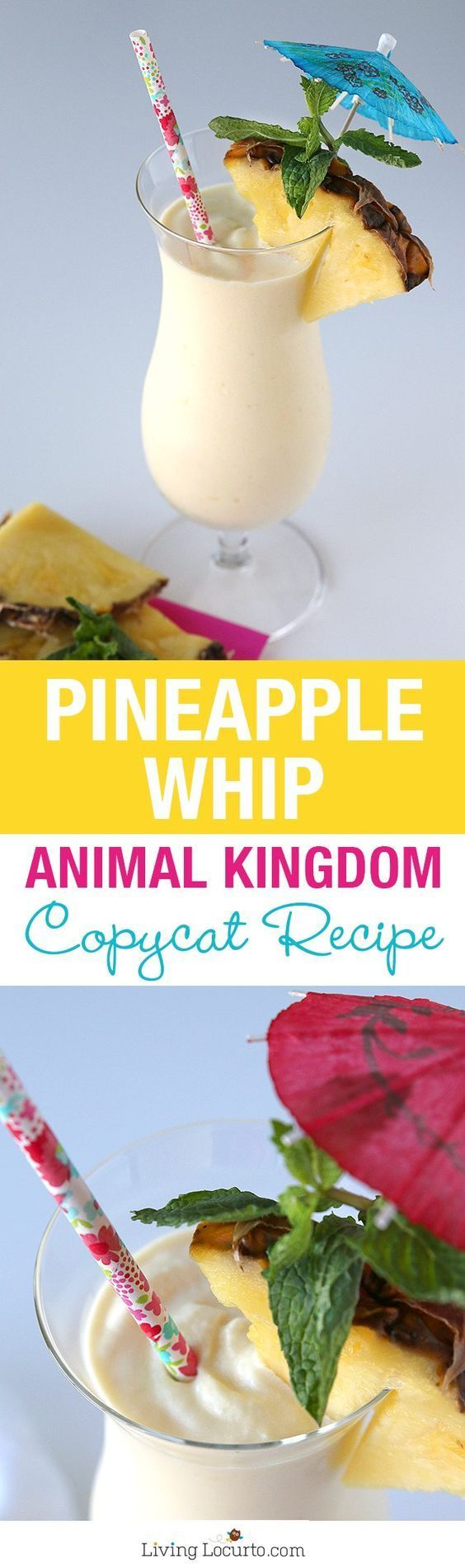 A delicious and simple copycat recipe for a Disney's Animal Kingdom Pineapple Dole Whip with rum! LivingLocurto.com