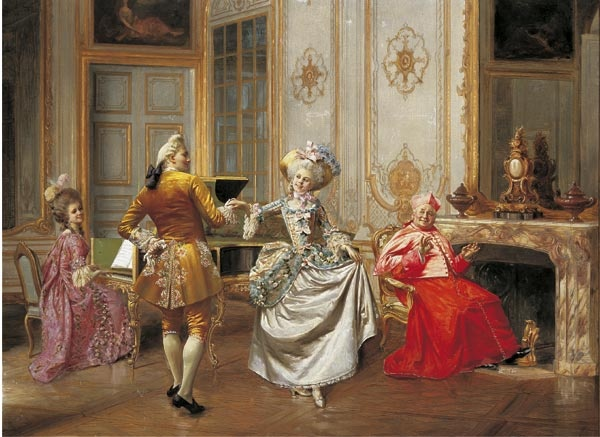 The Minuet circa 1898. This oil painting was painted by Francis Brunery. Brunery was one of the renowned 'Cardinal Painters' painting in Paris at the end of the nineteenth century.