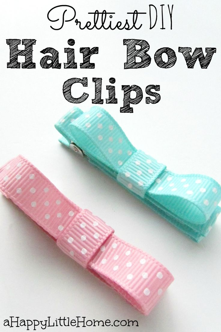 Prettiest DIY hair bow clips with ribbon - these little bow hair clips are such an adorable hair accessory to make! I love that this ribbon craft is so simple and pretty. These DIY hair clips would be perfect to make for my daughter!