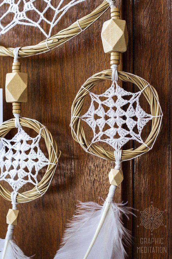 Bohemian Large White dream Catcher by Graphic Meditation