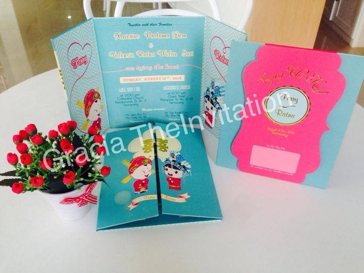 Let's start the day with our brightly oriental design Invitation   Hard cover folded in three with Customized pink envelope are ready to make your wedding party feels more cheerful yet orientally traditional..   Drop a message in our inbox for a quote or email us to sales@theinvitation.co.id