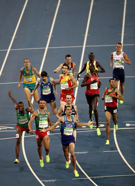 Matthew Centrowitz of the United States reacts after winning gold in front of…