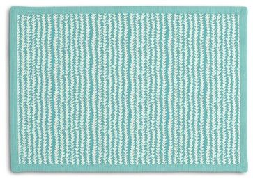 Vine Stripe Tailored Placemat Set, Turquoise contemporary-placemats