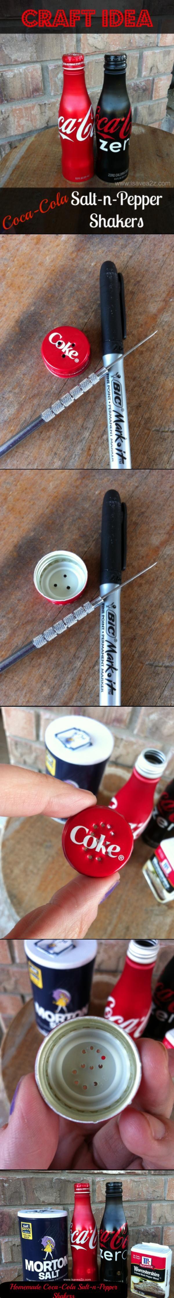 Coca-Cola Salt N Pepper Shakers HOMEMADE!!!  Super Cute and Easy too!