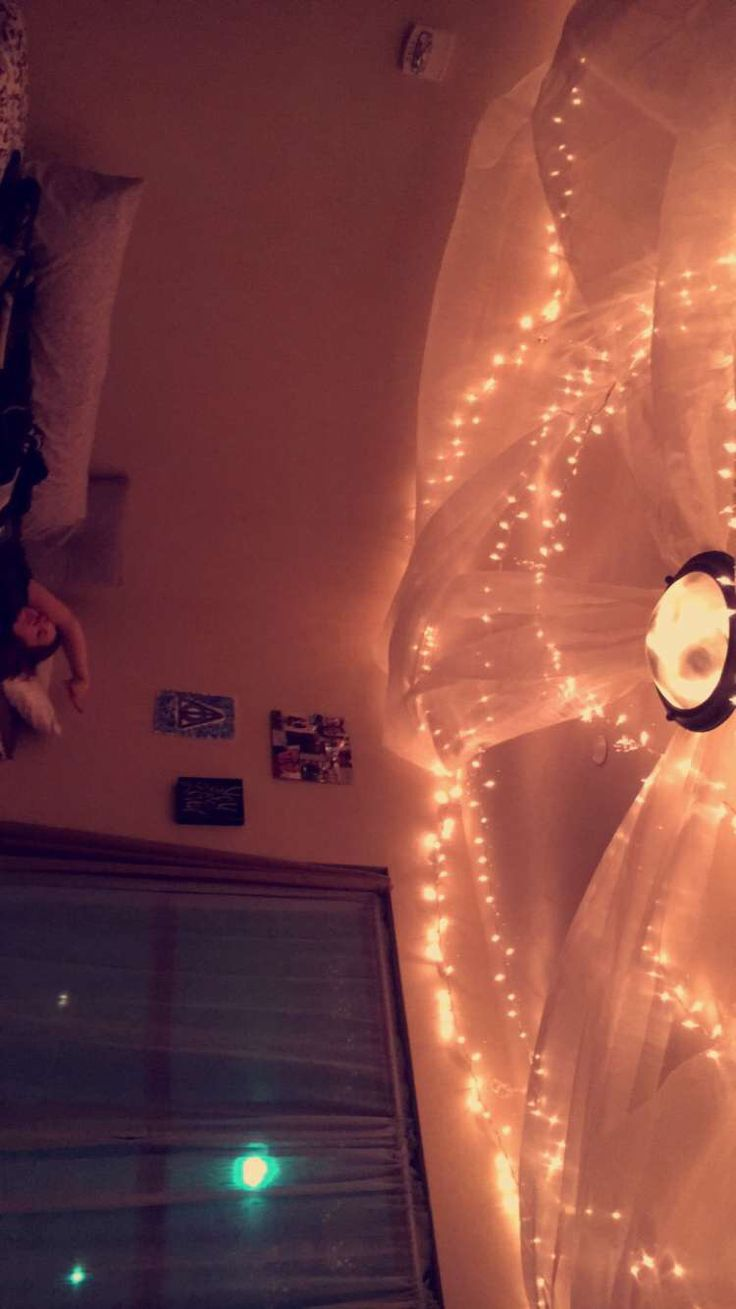 Enjoying the cave of comfort  #dorm #christmas lights  #organza