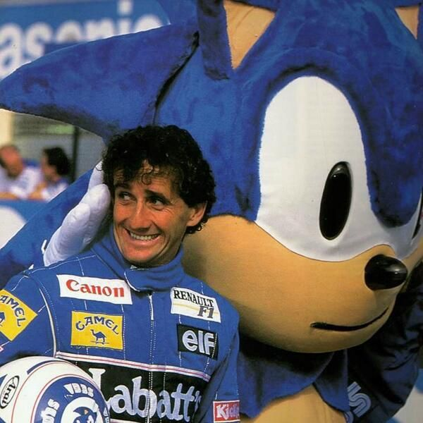 Alain Prost looks a little freaked out by Sonic. But at least they match.