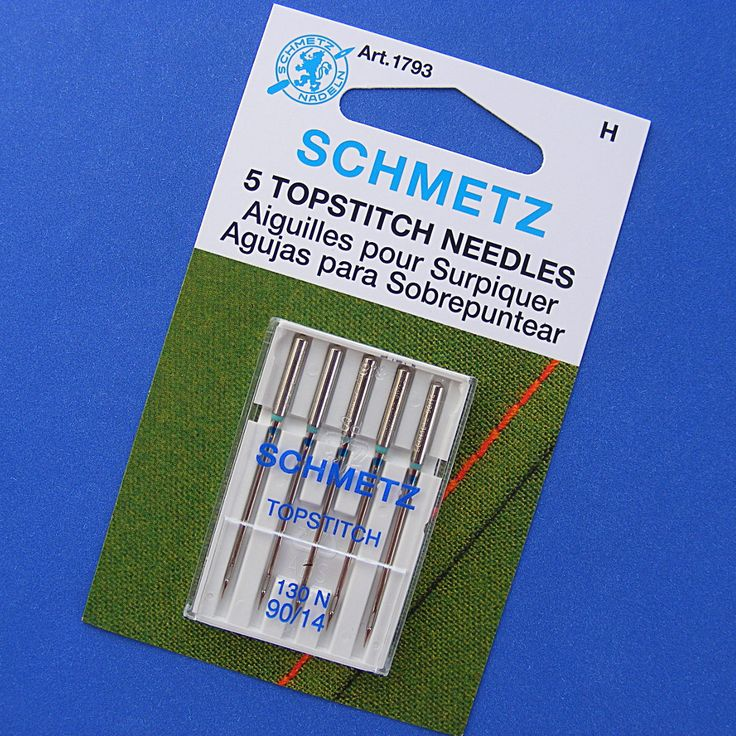 This is the topstitching needle I use with 12 wt. thread for a thicker line when machine quilting, or when sewing doll faces.