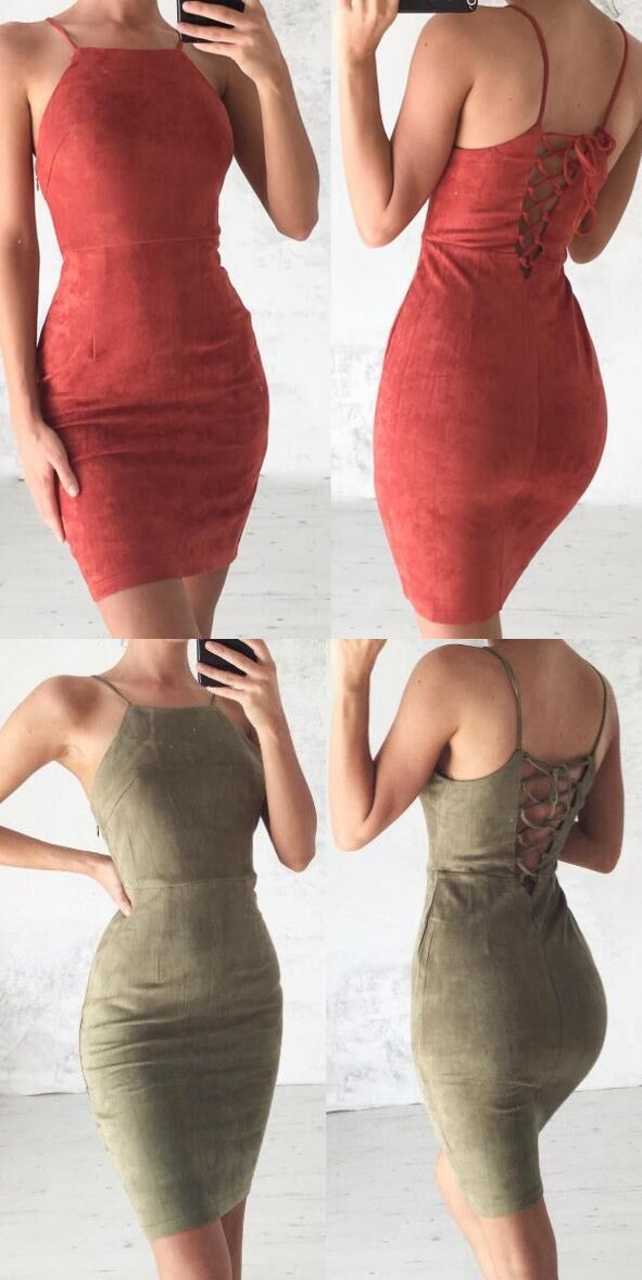 Spaghetti Strap Short Bodycon Dress,Suede Homecoming Dress,Sexy Party Dress