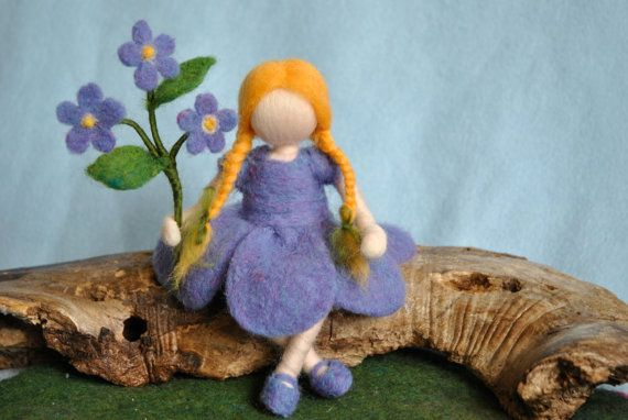 Waldorf inspired needle felted doll: Forget-me-not by MagicWool