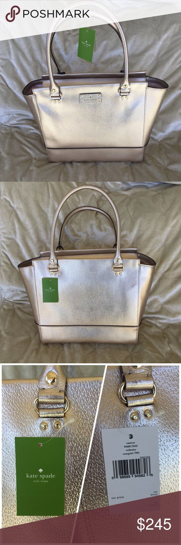 """Kate Spade Camryn Wellesley Bag, Rose Gold NWT Kate Spade Camryn Wellesley Bag, Rose Gold NWT  11"""" length x 11"""" bottom width, 16"""" top width x 6"""" depth  This gorgeous bag is not available in stores but you can get it here! I ship within 24 hours.  No trades, no offers, price is firm. kate spade Bags"""