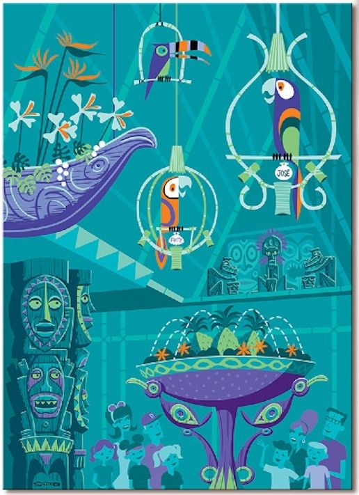 quintessential shag...Disney Shag The Birds Sing Enchanted Tiki Room 50th Ann Giclee Canvas 46 200 | eBay..