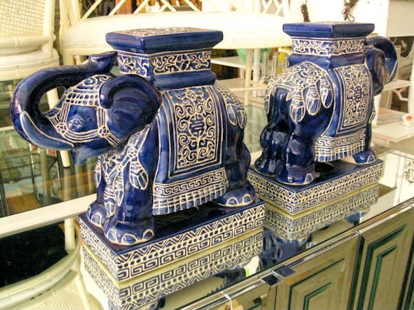 Pair Of Blue Elephant Garden Seats