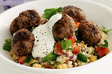 Meatballs with couscous salad recipe