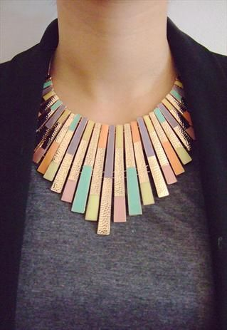 Gold with Pastel colours Collar / Necklace