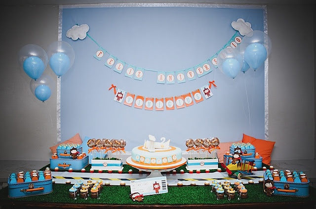 Airplane themed party for a little boy.