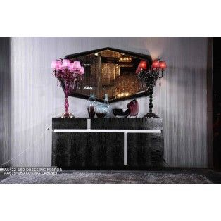 Black Crocodile Lacquered Buffet Dining Room