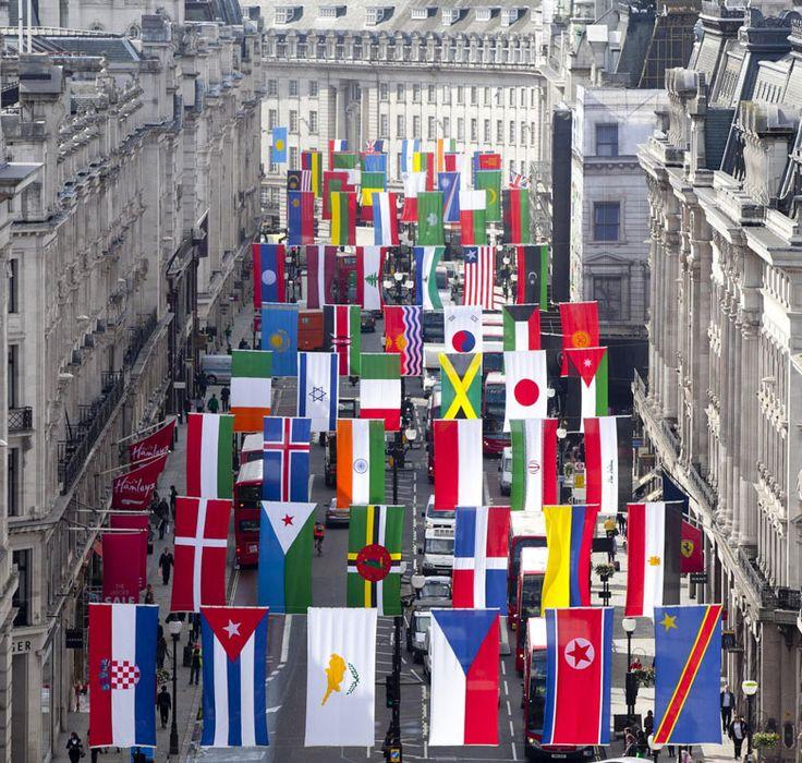 #London~Regent Street flags