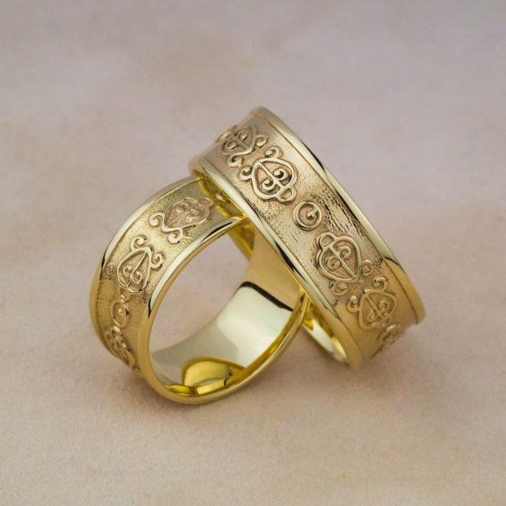 Wedding Rings in 14K Yellow Gold Engraved with by ZEHAVAJEWELRY