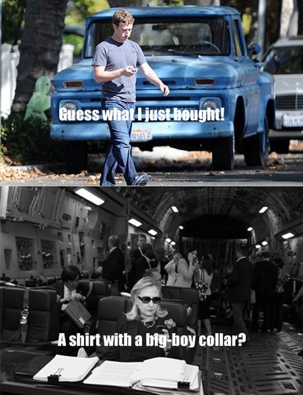 Texts From HillaryTexts, Silly Stuff, Hilaryand Bill, Hillary Clinton, Mark Zuckerberg, Hilarious Clintonswag, Big Boys, Funny Stuff, Election Memes