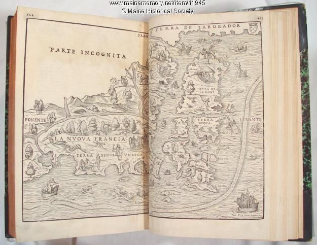 """Ramusio's Delle Nava Gationi, 1565. This woodcut appeared in a book written in 1565 by Giovanni Battista Ramusio, """"Delle Navigationi et Viaggi,"""" that described the newly discovered area of New England, and included references to the mythical land of Norumbega, as well as Narraganset Bay (Port de Refugio). pp. 424-425. Brown Research Library Collections"""