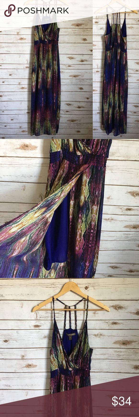 Charlie Jade Maxi Dress Charlie Jade Snake Print Maxi Dress Beautiful colors with a snake print. The Skirt potion sort of wraps around the front and there is a mid thigh length lining. In great used condition. Measurements coming soon. Charlie Jade Dresses Maxi