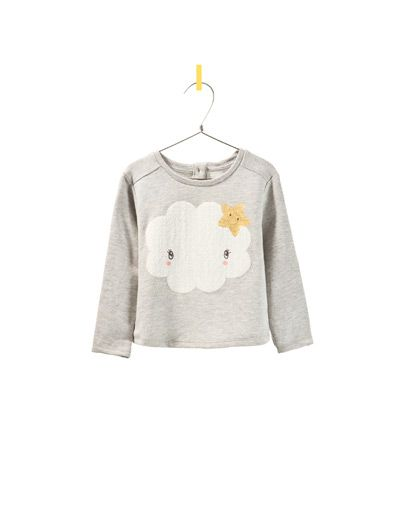 sweatshirt with cloud and stars - Cardigans and sweaters - Baby girl - Kids - New collection - ZARA