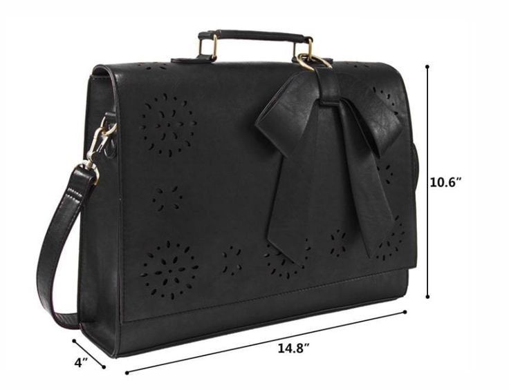 Women Faux Leather Bag Briefcase Shoulder Laptop Messenger Bags Black Coach #ECOSUSI