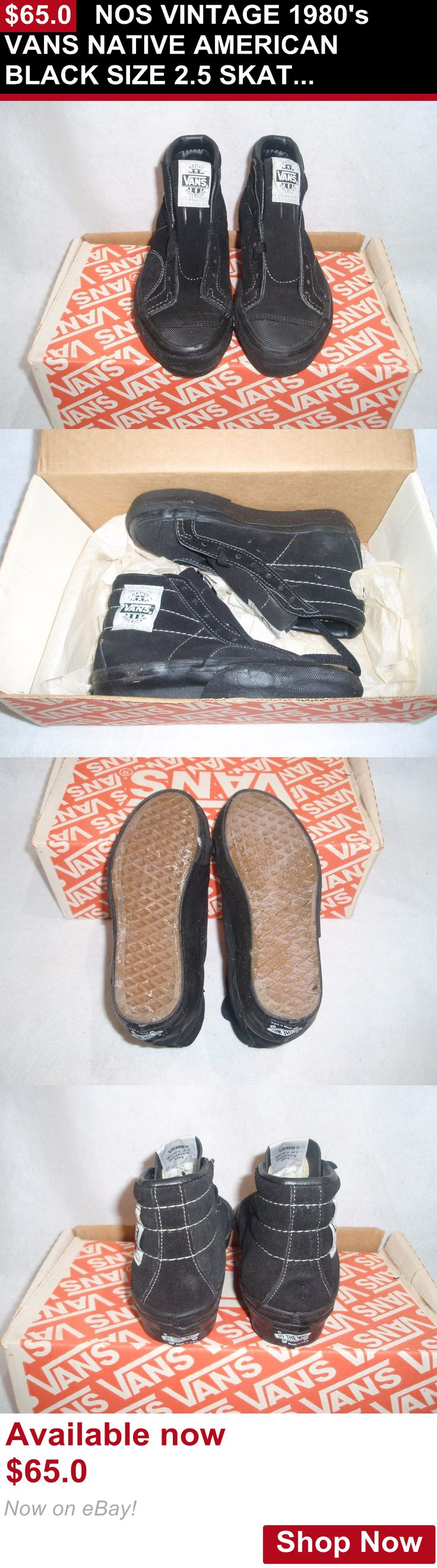 Men vintage clothing and shoes: Nos Vintage 1980S Vans Native American Black Size 2.5 Skateboard Bmx Shoes BUY IT NOW ONLY: $65.0
