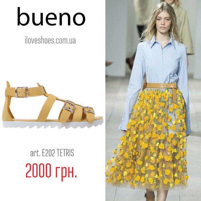 Желтые босоножки – превосходное дополнение к любому позитивному летнему образу, начиная от платья и заканчивая джинсовыми шортами. С помощью них вы сделаете образ ярче.  Представляем вашему вниманию сандалии торговой марки «Bueno» из кожи желтого цвета. Высота платформы 1,5 см. Открытый закругленный носок. Застежка: пряжка.