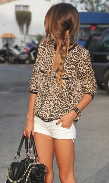 IDEA:  White shorts with leopard / snake skin print