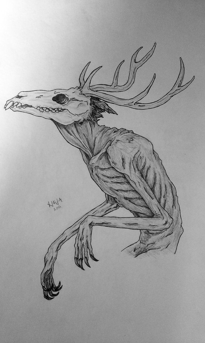 Just a sketch turned into a simple drawing. Nothing much else to say about it. It's just my obsession with drawing skeletal things. Referenced from: Wendigo Sketches (thanks to the person...