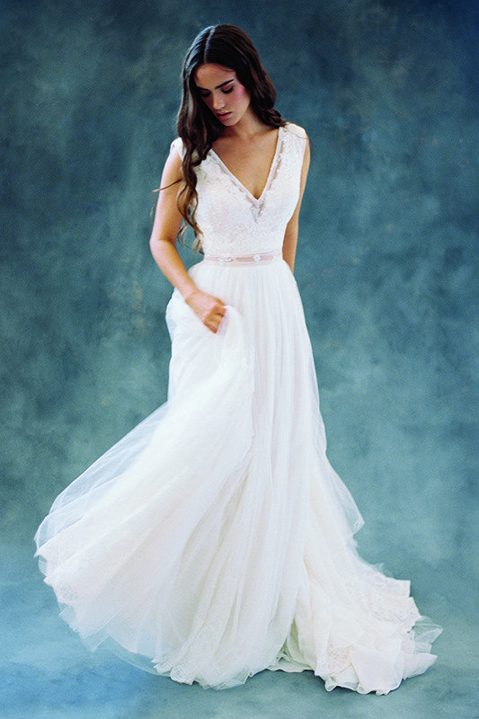 F106 Maya - Alternating chiffon, tulle and lace lend softness to Maya's skirt.