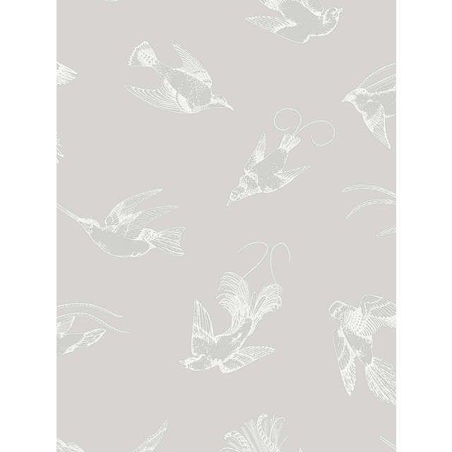 Cole & Son Tropical Birds Wallpaper, Grey, 89/1002 at John Lewis