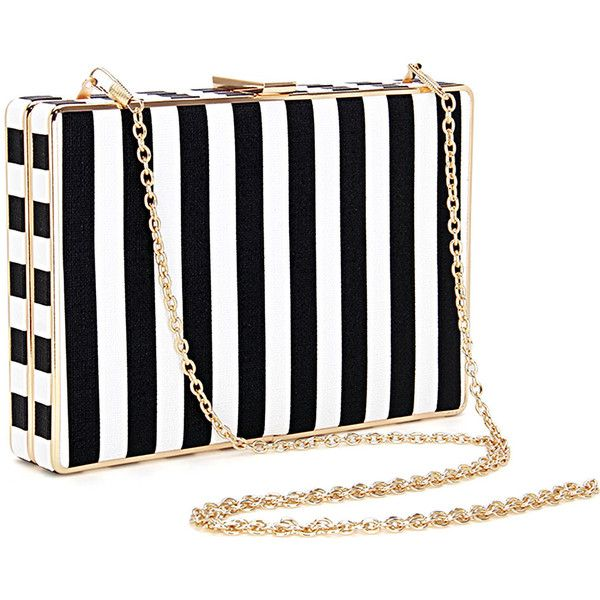Yoins Black and White Striped Leather-look Box Clutch Bag with Chain... ($29) ❤ liked on Polyvore featuring bags, handbags, clutches, vegan leather purses, box clutch, chain strap purse, vegan purses and black and white clutches