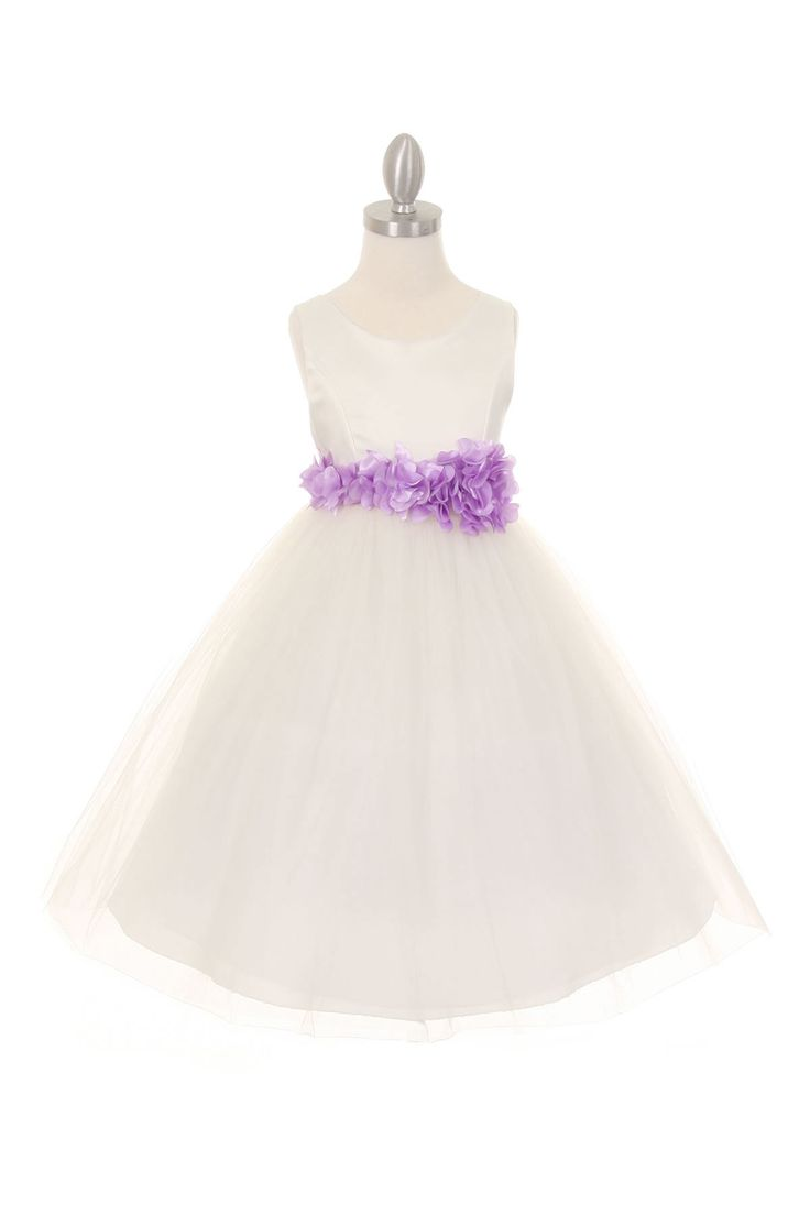 Girls Dress Style 1170-4 - Choice of White or Ivory Dress with LILAC Flower Sash  A truly amazing and timeless dress that everyone will love. This sleeveless style dress is perfect for an upcoming wedding or special event. The dress is youthful enough for younger children but sophisticated enough for junior bridesmaids.  http://www.flowergirldressforless.com/mm5/merchant.mvc?Screen=PROD&Product_Code=CC_1170-4IVL&Store_Code=Flower-Girl&Category_Code=Lilac