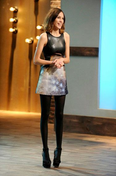 "Alexa Chung wearing Christopher Kane dress and Prada shoes on ""24 Hour Catwalk"""