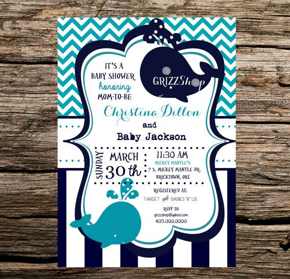 Blue Whale Baby Shower Invitation by GrizzShop on Etsy, $15.00