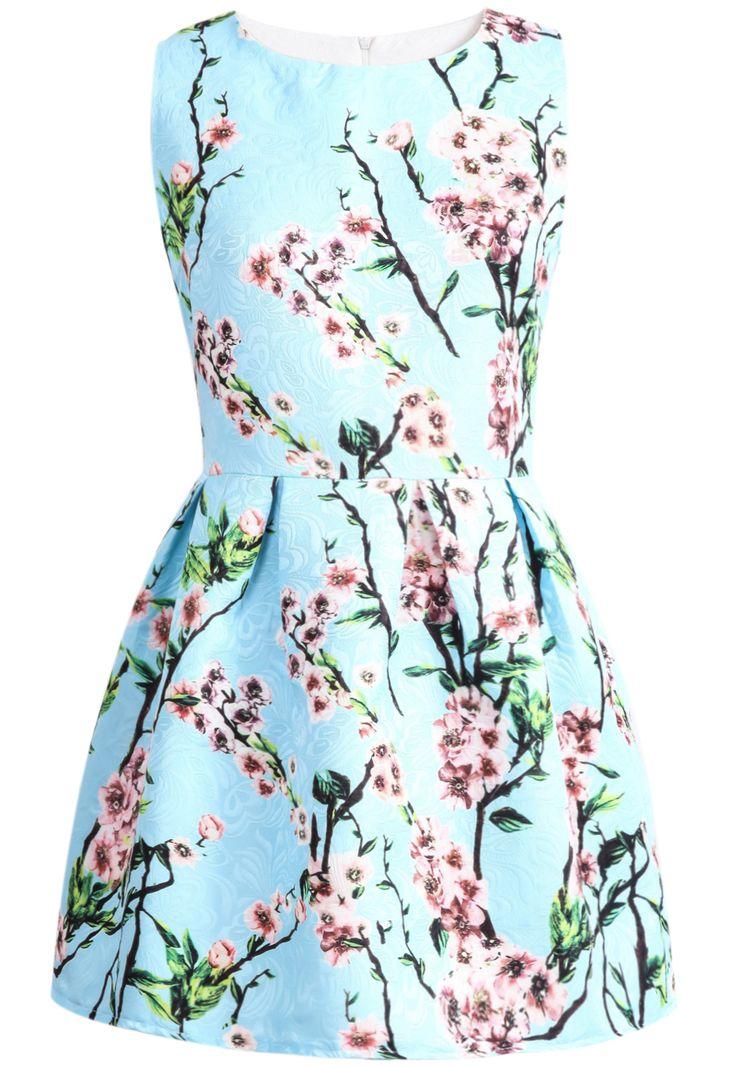 robe motif fleur sans manche -bleu  15.64