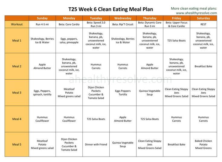 T25 Week 6 Clean Eating Meal Plan www.ahealhyresolve.com