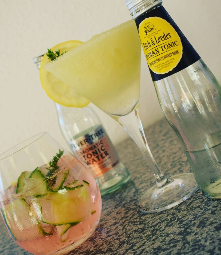 Pairing off with Fevertree Aromatic Tonic garnished with cucumber; Pear and apple smoothie topped with Fitch & Leedes tonic, garnished with lemon and thyme