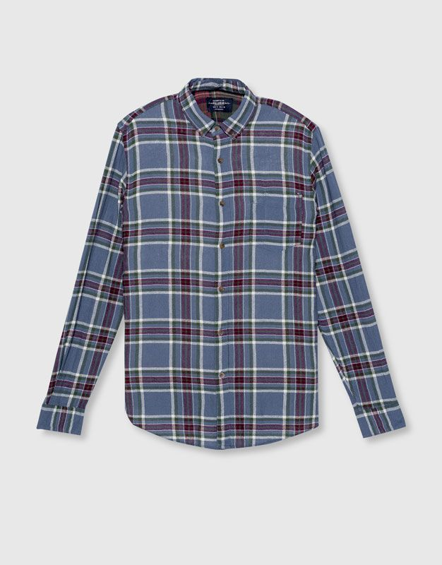 Pull&Bear - man - new - clothing - checkered shirt with patch on back…
