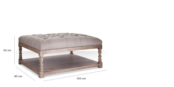 Swoon Editions Ottoman, modern country style in oatmeal - £329