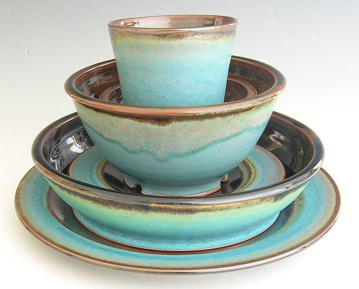 Handmade Dinnerware Set Brown And Turquoise Beautiful
