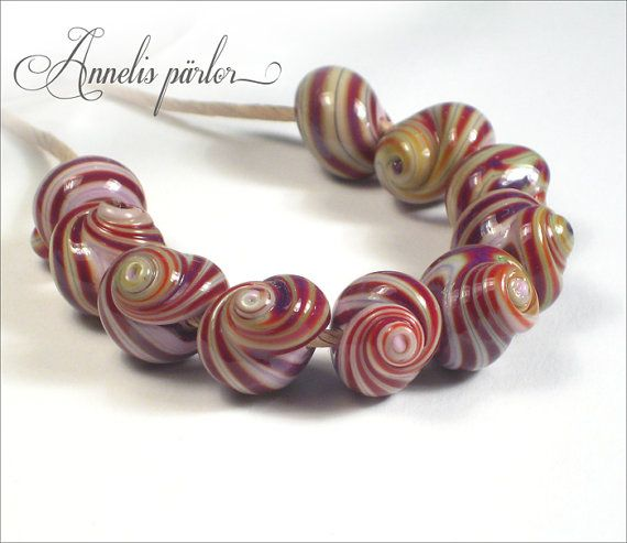SRA handmade lampwork beads stripey glass shells by Annelibeads
