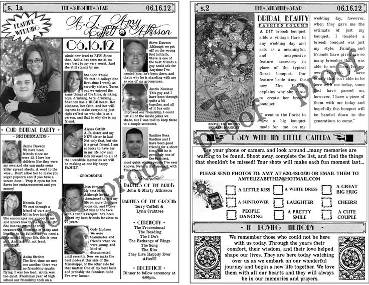 8 Best Newspaper Images On Pinterest Wedding Programs Journaling