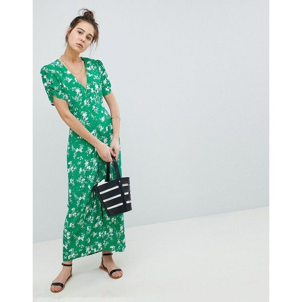 ASOS DESIGN button through maxi tea dress in floral (215 PEN) ❤ liked on Polyvore featuring dresses, multi, petite, tall maxi dresses, asos dresses, floral maxi dress, petite maxi dresses and floral dresses