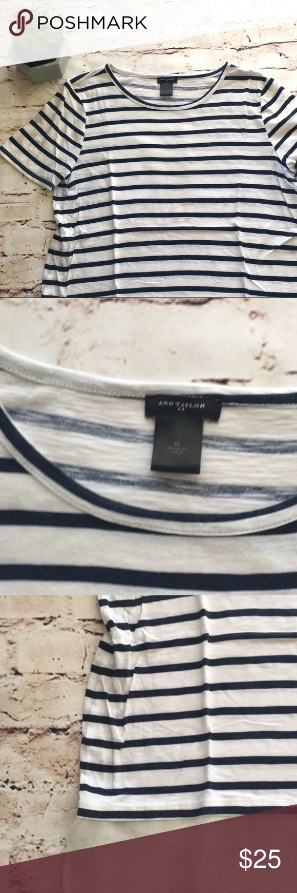 Ann Taylor | navy blue and white striped top Navy blue and white striped short sleeve top with white sheer trim. In excellent condition! Feel free to ask questions or make an offer! Bundle for a discount! 0129::253 Ann Taylor Tops Blouses