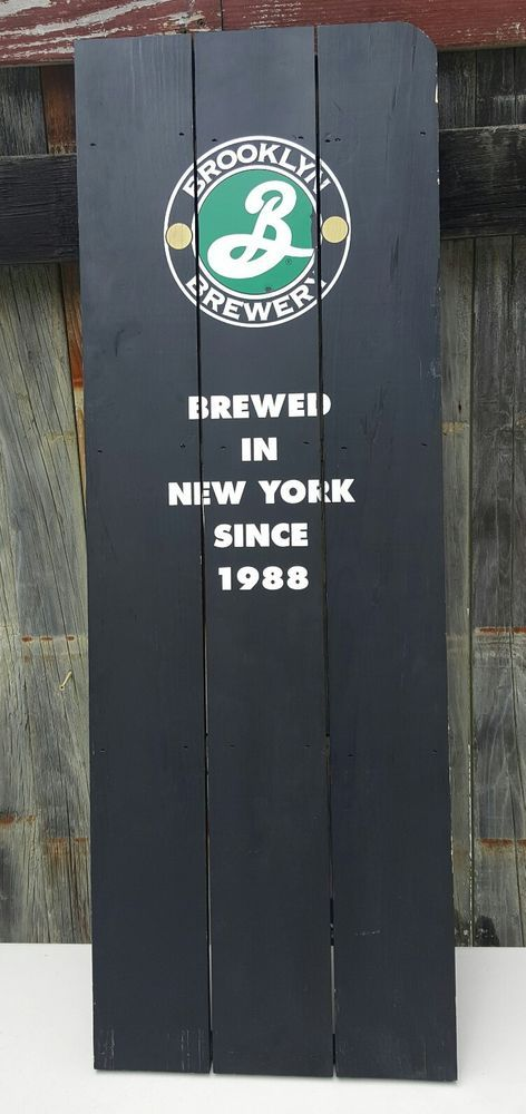 "BROOKLYN BREWERY 16""x48"" WOOD SHUTTER BEER SIGN ~ NEW YORK RARE UNIQUE #BrooklynBrewery #Beer #Sign #NYC"