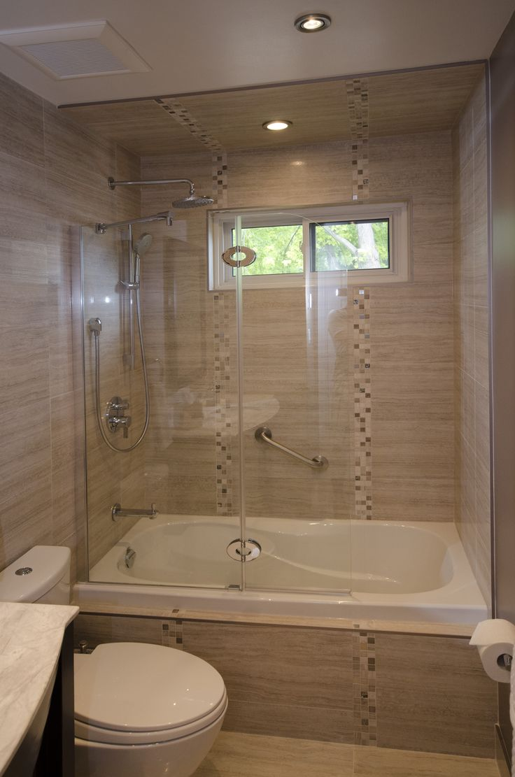 Tub enclosure with tub shield full bathroom renovations for Small full bath ideas